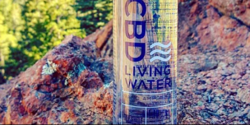 cbd living water bottle with a view